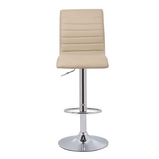 Ripple Bar Stool In Stone Faux Leather With Chrome Base_2