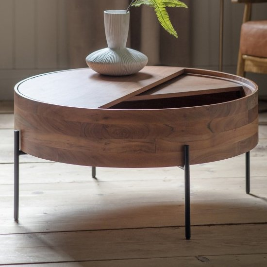 View Risbeto round wooden storage coffee table in natural