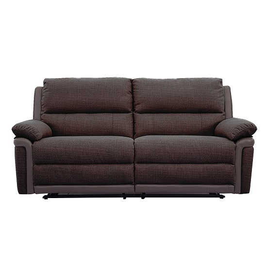 Risor Recliner 3 Seater Sofa In Nutmeg Brown Fabric And PU Trim