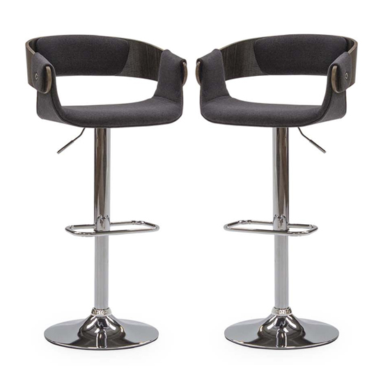 Rita Charcoal Fabric Gas Lift Bar Stool In Pair