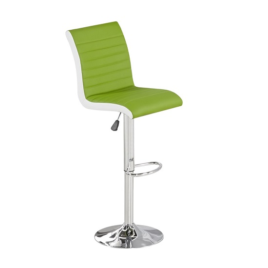 Ritz Bar Stool In Lime And White Faux Leather With Chrome Base