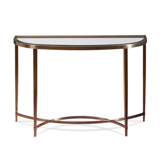 View Ritz glass console table in clear and brushed antique brass