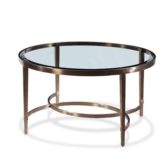 Ritz Glass Round Coffee Table In Clear And Brushed Antique Brass