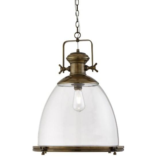 View Ritz industrial pendant light in antique brass