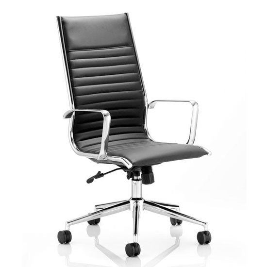 Ritz Leather High Back Executive Office Chair In Black