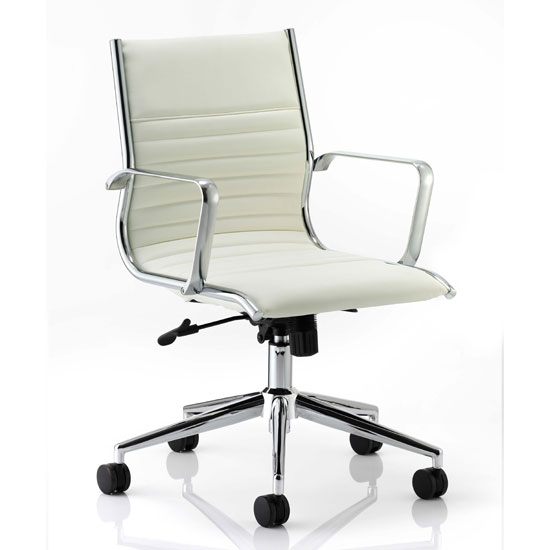 Ritz Leather Medium Back Executive Office Chair In Ivory