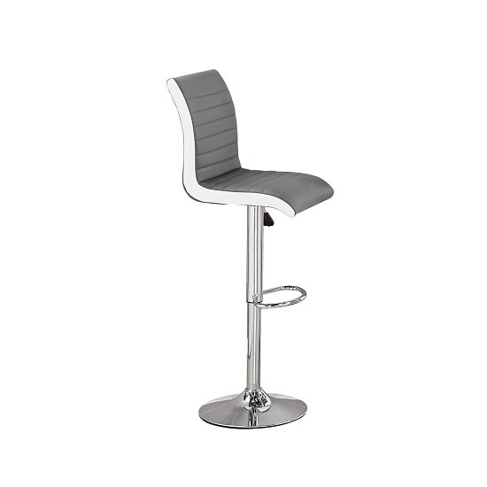 Ritz Bar Stool In Grey And White Faux Leather With Chrome Base