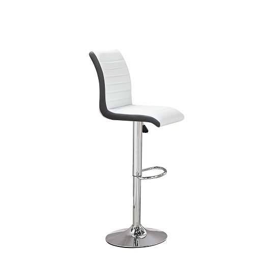 Ritz Bar Stool In White And Black Faux Leather With Chrome Base