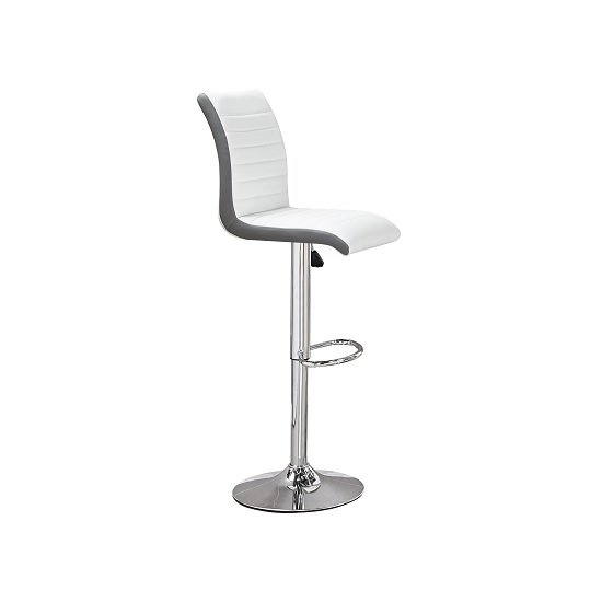 Ritz Bar Stool In White And Grey Faux Leather With Chrome Base