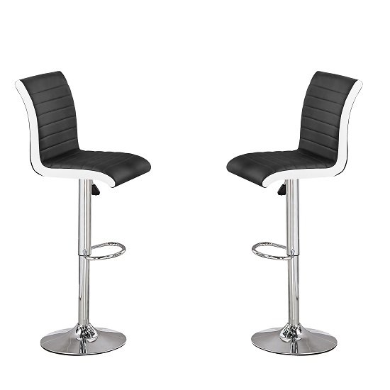 Ritz Bar Stools In Black And White Faux Leather In A Pair