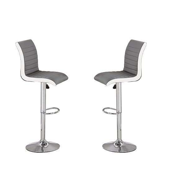 Ritz Bar Stools In Grey And White Faux Leather In A Pair