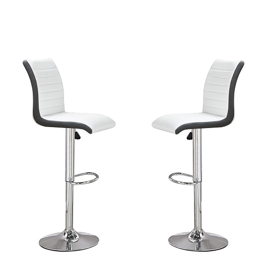 Ritz Bar Stools In White And Black Faux Leather In A Pair