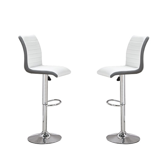 Ritz Bar Stools In White And Grey Faux Leather In A Pair