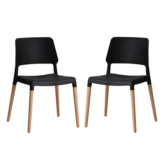 Riva Black Finish Dining Chairs In Pair