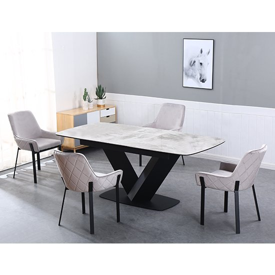 View Riva extending ceramic dining table with 6 riva grey chairs