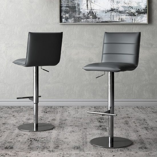 Riva Grey Faux Leather Bar Stools In Pair