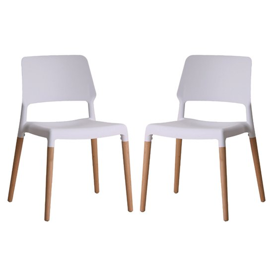 Riva White Finish Dining Chairs In Pair