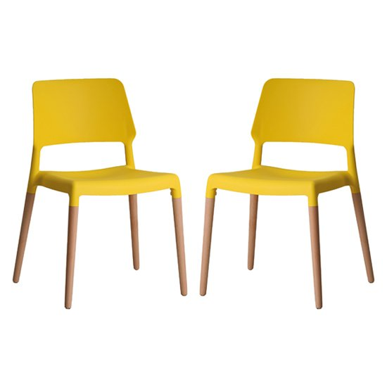 Riva Yellow Finish Dining Chairs In Pair