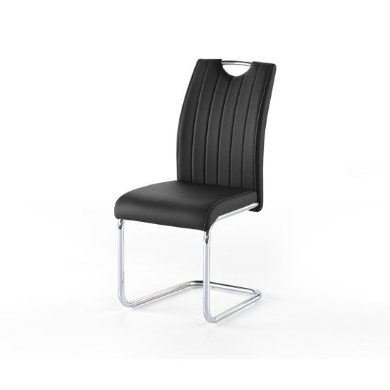 Riva1 Dining Chair In Black Faux Leather With Handle Hole