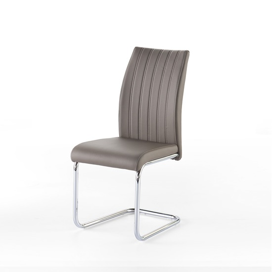 Riva Dining Chair In Taupe Faux Leather With Chrome Base