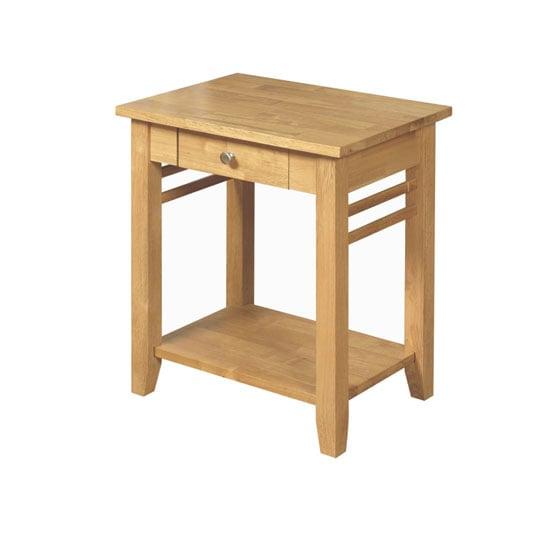 Rivero Wooden End Table In Light Oak With Undershelf