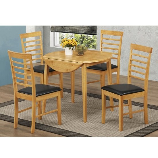 Rivero drop leaf dining table round in light oak and 4 for Light oak dining furniture