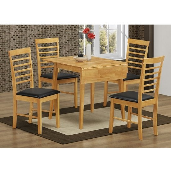 Rivero Drop Leaf Dining Table Square In Light Oak And 4 Chairs