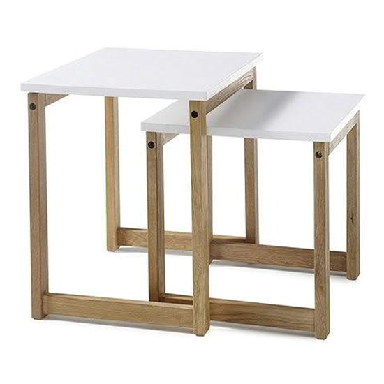 Riverside Wooden Pair Of Coffee Tables In Matt White And Oak
