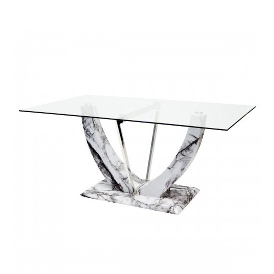 Riviera Glass Dining Table In Clear And Marble Effect