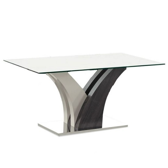 Rivilino Modern Glass Dining Table Rectangular In Clear