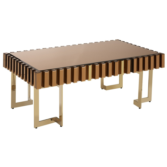 Montuno Wooden Coffee Table In Warm Metallic With 1 Drawer