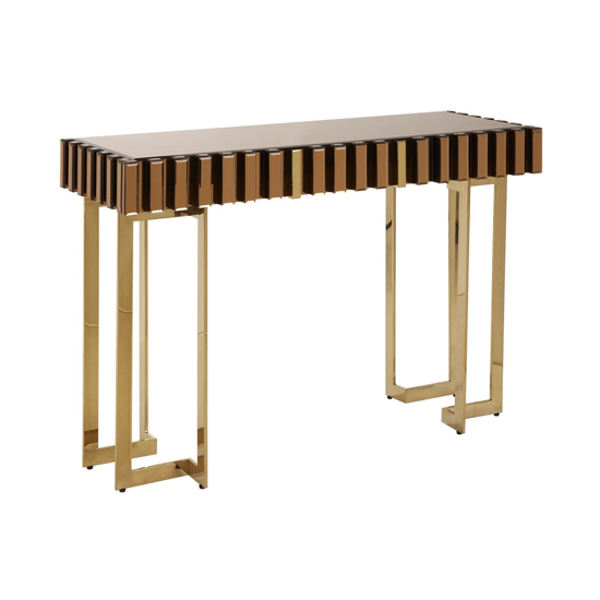 Montuno Wooden Console Table In Warm Metallic With 1 Drawer