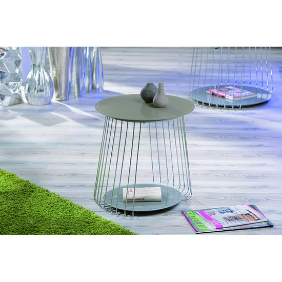 Rivoli Glass Top End Table With Satin Chrome