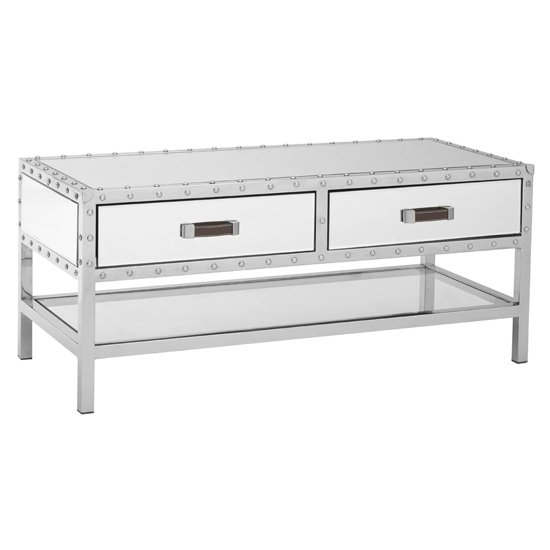 View Rivota mirrored coffee table with white wooden drawers