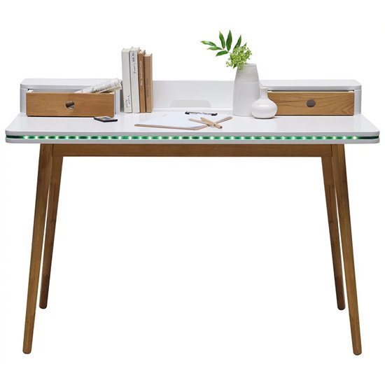 Robbie Wooden Laptop Desk In Matt White And Oak With LED