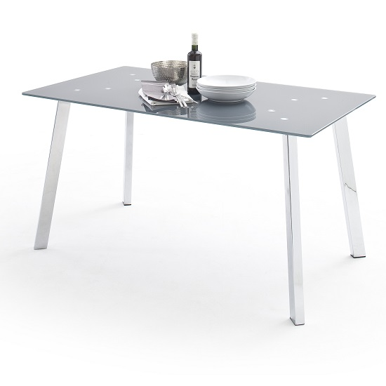 robbie grey glass dining table with chrome legs 30732