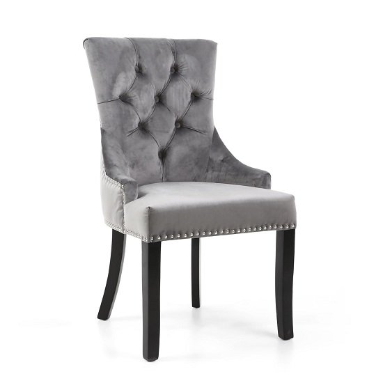 Robbyn Accent Chair In Grey Velvet With Black Rubberwood Legs