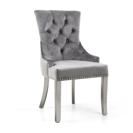 Robbyn Accent Chair In Grey Velvet With Silver Steel Legs