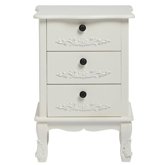 Robena Wooden Bedside Cabinet In White With 3 Drawers