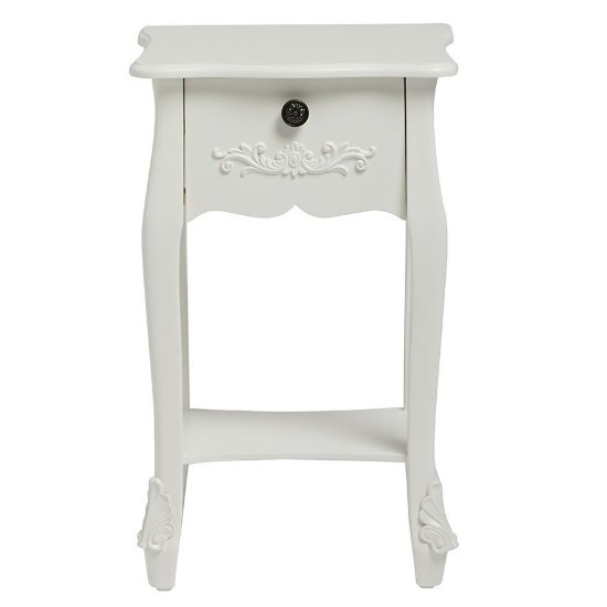 Robena Wooden Bedside Table In White With 1 Drawer