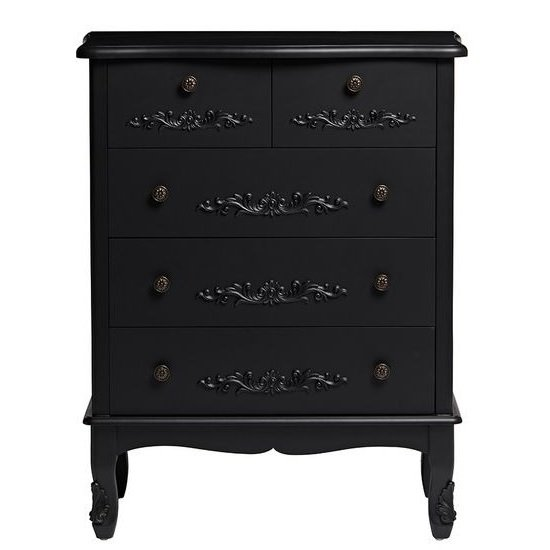 Robena Wooden Chest Of Drawers Large In Black With 5 Drawers