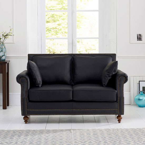 Roberto 2 Seater Sofa In Black Leather With Dark Ash Legs