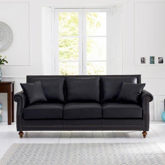 Roberto 3 Seater Sofa In Black Leather With Dark Ash Legs