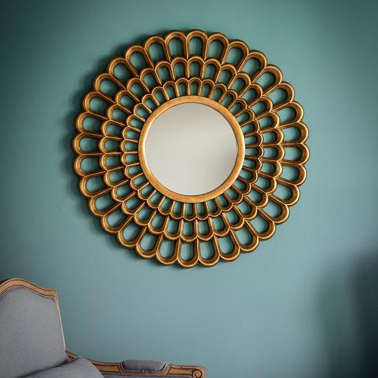 Roberto Contemporary Wall Mirror Round In Gold