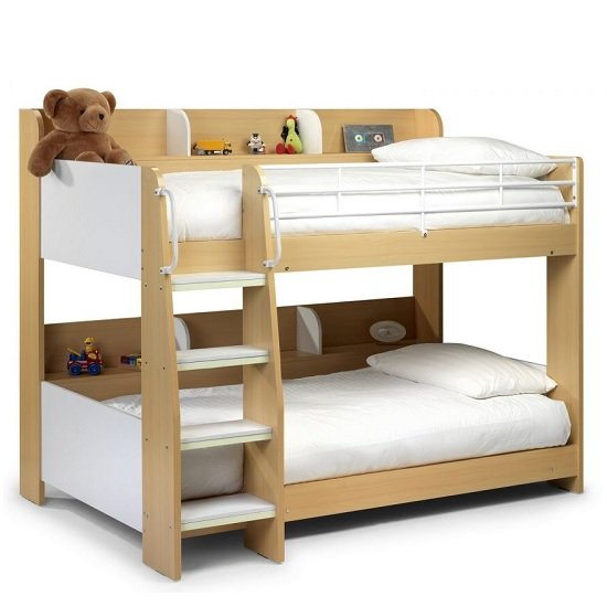 Robin Wooden Bunk Bed In Maple And White With Ladder_2