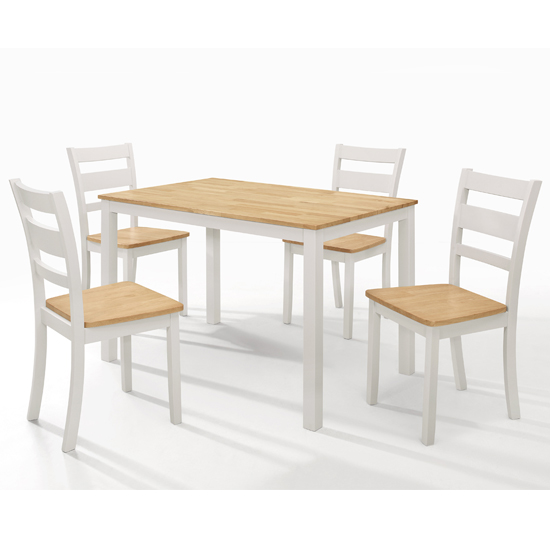 Robin Wooden Oak Top Dining Table In Grey With 4 Chairs