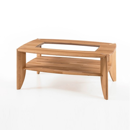 Robyn Wooden Coffee Table In Core Beech With Glass Top Inserts