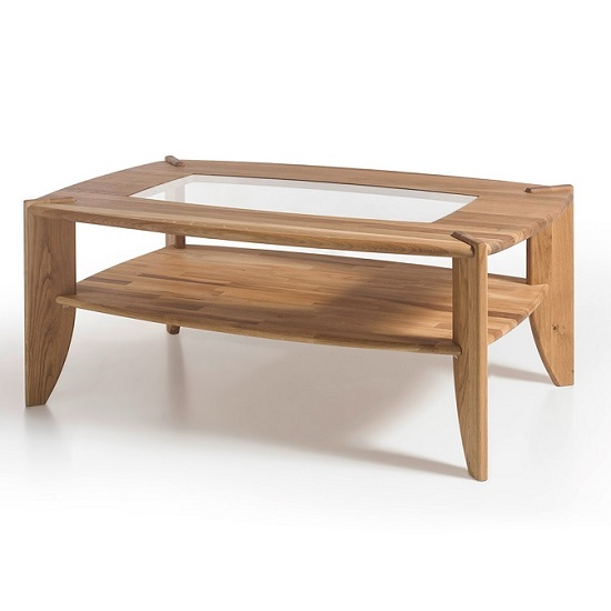 Robyn Wooden Coffee Table In Knotty Oak With Glass Top Inserts