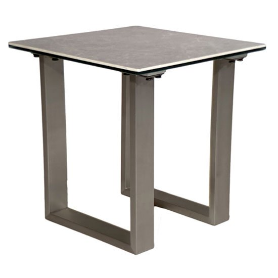 Rocca Ceramic And Glass End Table With Steel Base