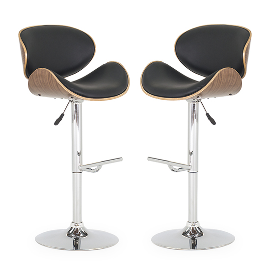Product photograph showing Rocco Black Faux Leather Gas Lift Bar Stool In Pair